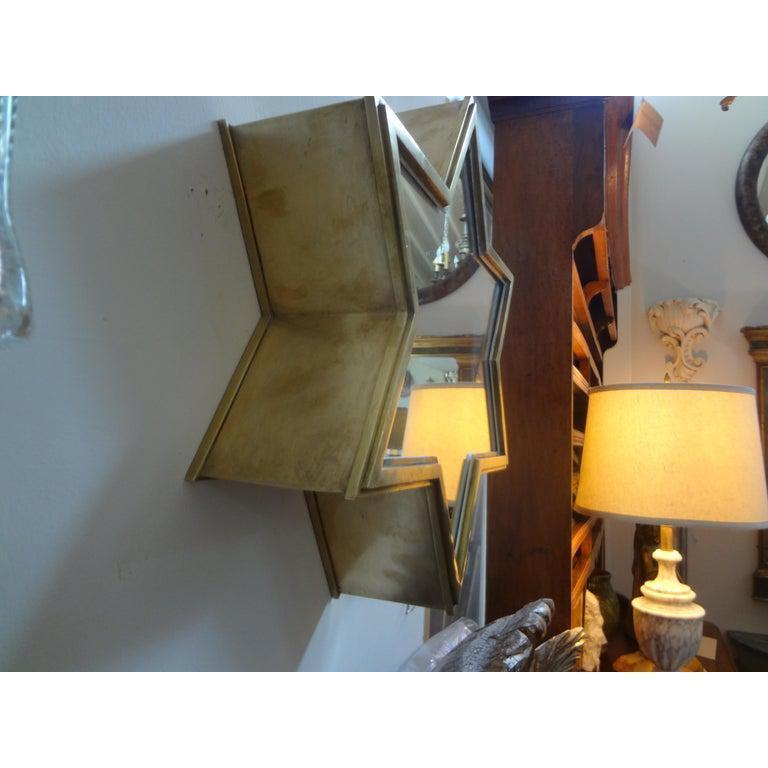 Mid-20th Century Pair of Italian Gio Ponti Style Mid-Century Modern Brass Star Shaped Mirrors For Sale