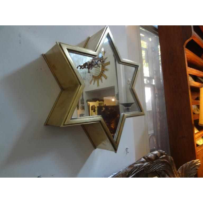 Pair of Italian Gio Ponti Style Mid-Century Modern Brass Star Shaped Mirrors For Sale 1