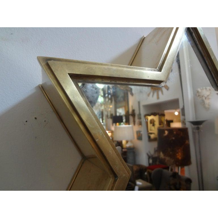 Pair of Italian Gio Ponti Style Mid-Century Modern Brass Star Shaped Mirrors For Sale 2