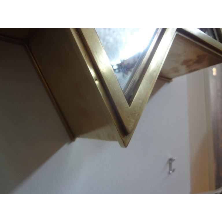 Pair of Italian Gio Ponti Style Mid-Century Modern Brass Star Shaped Mirrors For Sale 3