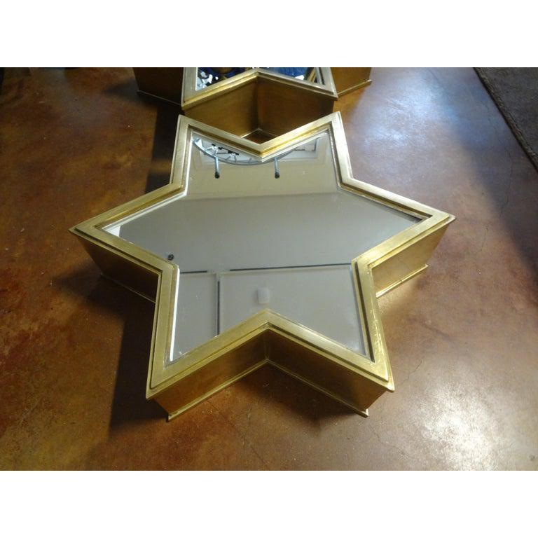Pair of Italian Gio Ponti Style Mid-Century Modern Brass Star Shaped Mirrors For Sale 4
