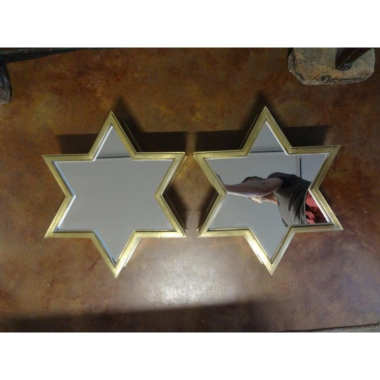 Pair of Italian Gio Ponti Style Mid-Century Modern Brass Star Shaped Mirrors For Sale 5