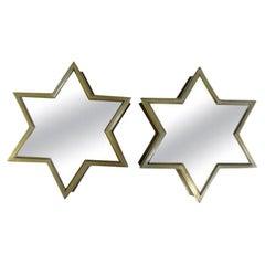 Pair of Italian Gio Ponti Style Mid-Century Modern Brass Star Shaped Mirrors