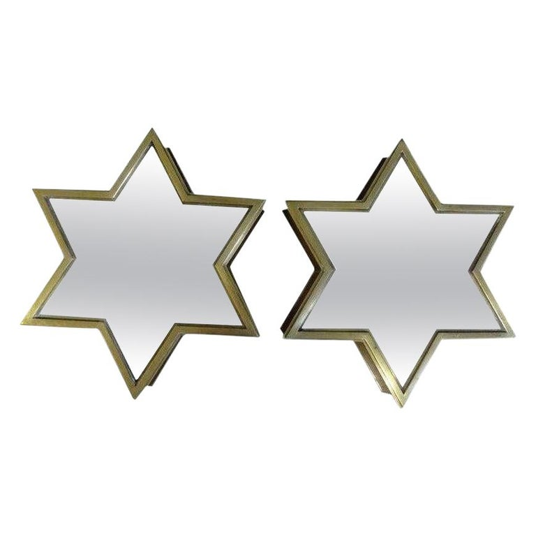 Pair of Italian Gio Ponti Style Mid-Century Modern Brass Star Shaped Mirrors For Sale