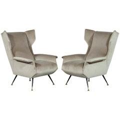 Pair of Italian Gio Ponti Style Mid-Century Modern Parlor Chairs
