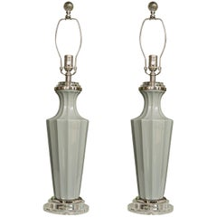Pair of Italian Glass Gray Vases as Table Lamps