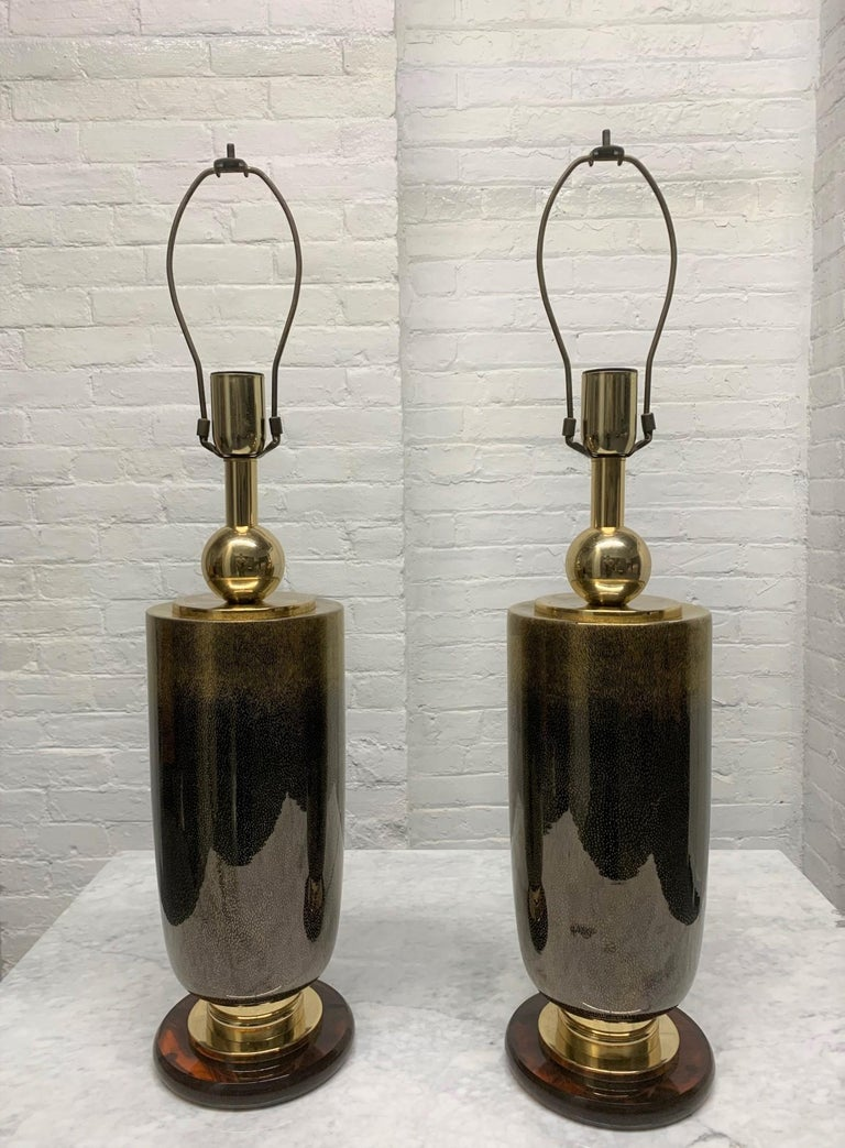 Pair of Italian Glass Lamps In Good Condition For Sale In New York, NY
