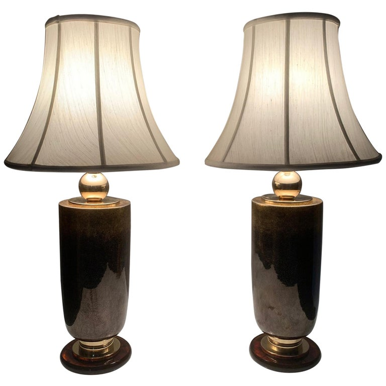 Pair of Italian Glass Lamps For Sale