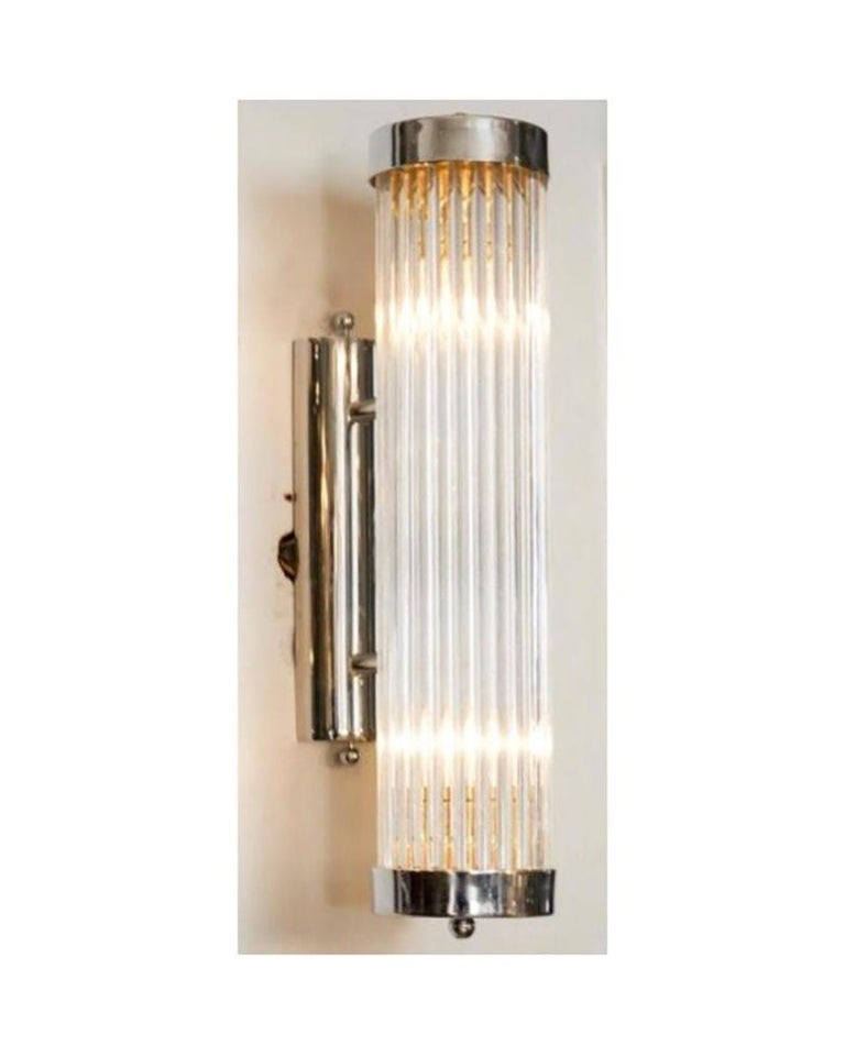 Pair of Italian Glass Rod Sconces In Good Condition For Sale In New York, NY