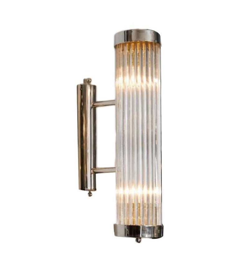 Mid-20th Century Pair of Italian Glass Rod Sconces For Sale