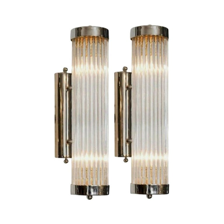 Pair of Italian Glass Rod Sconces For Sale