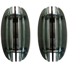 Pair of Italian Glass Sconces by Veca