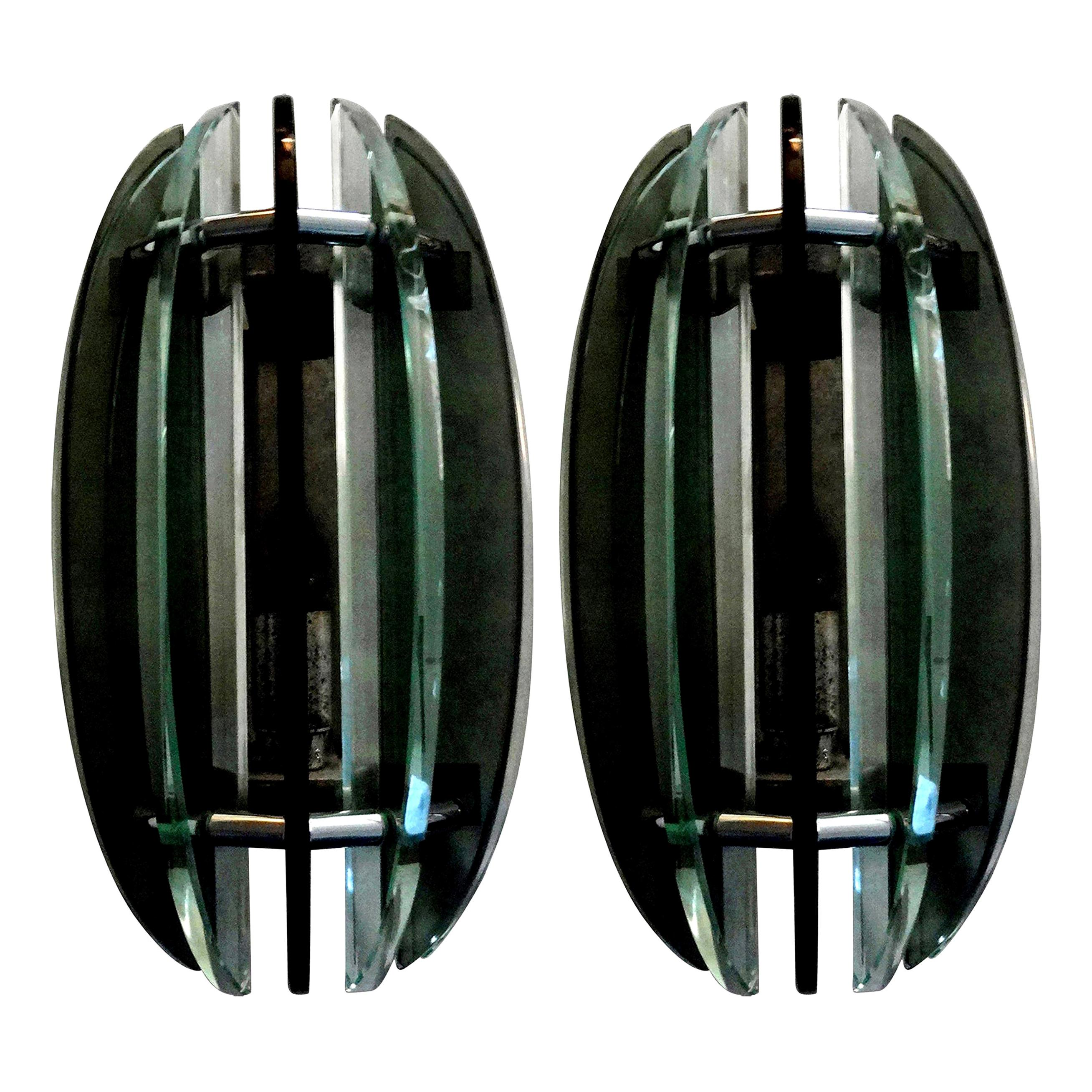 Pair of Italian Glass Sconces, Fontana Arte Style