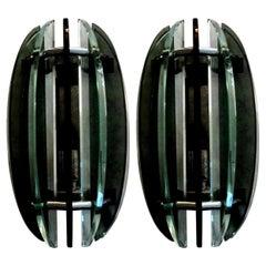 Pair of Italian Glass Sconces, Fontana Arte Style