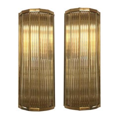 Pair of Italian Glass Wall Lights, Art Deco Style