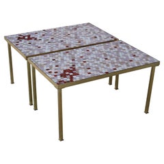 Pair of Italian Glass Tile Tables in the style of Harvey Probber