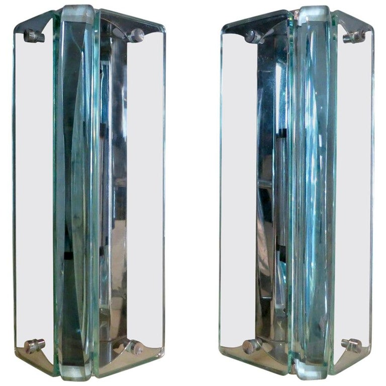 Pair of Italian Glass Wall Sconces For Sale