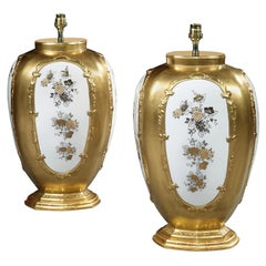 Pair of Italian Gold and White Porcelain Table Lamps
