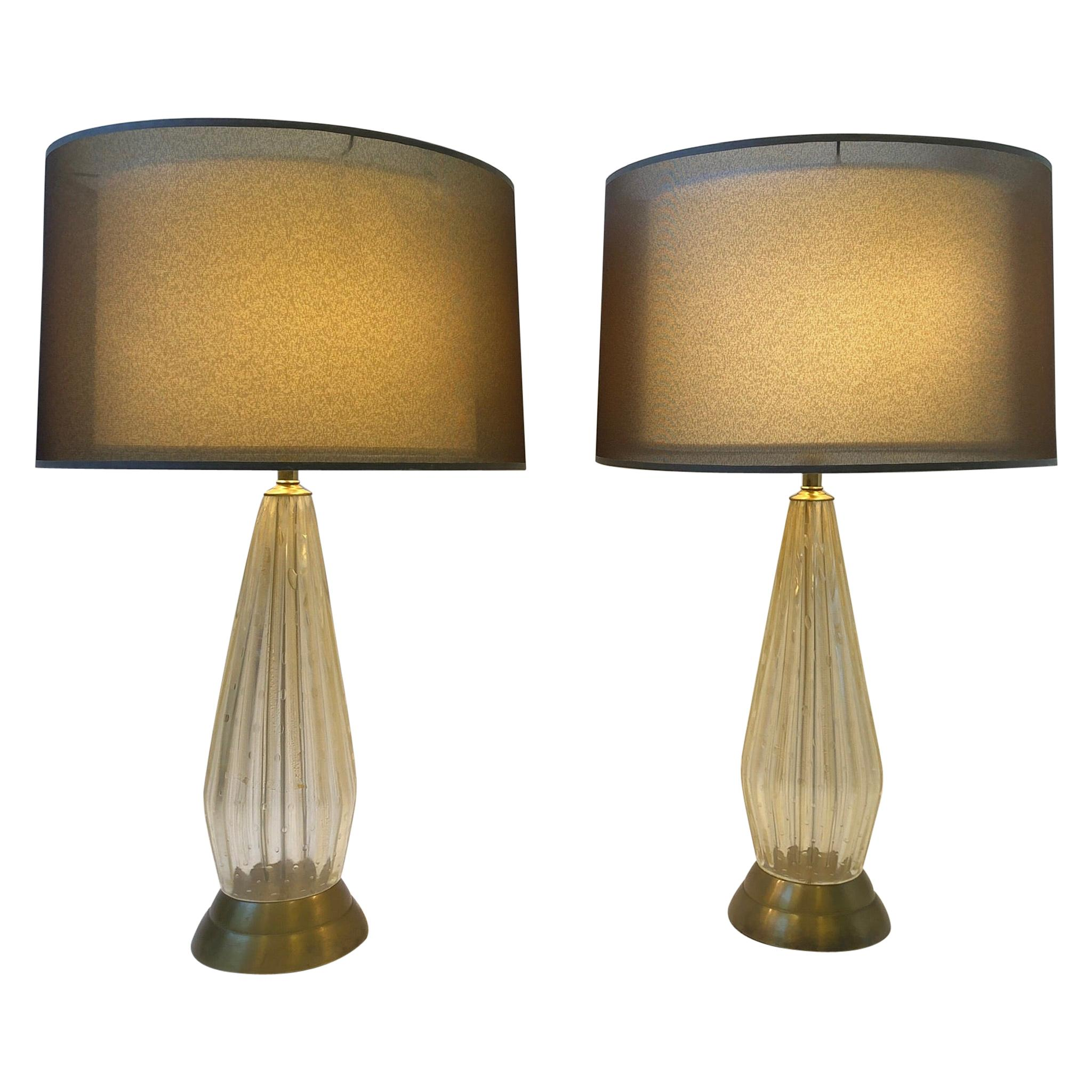 Pair of Italian Gold Dust Murano Glass and Brass Table Lamps by Marbro Lamp Co.