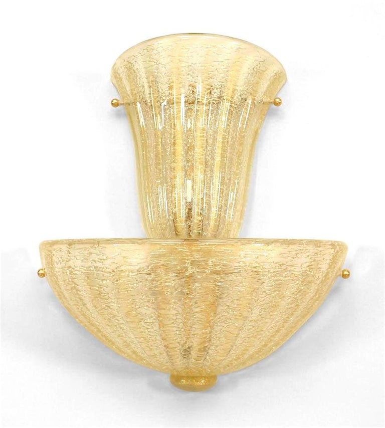 Modern Pair of Italian Gold-Flecked Murano Glass Sconces For Sale