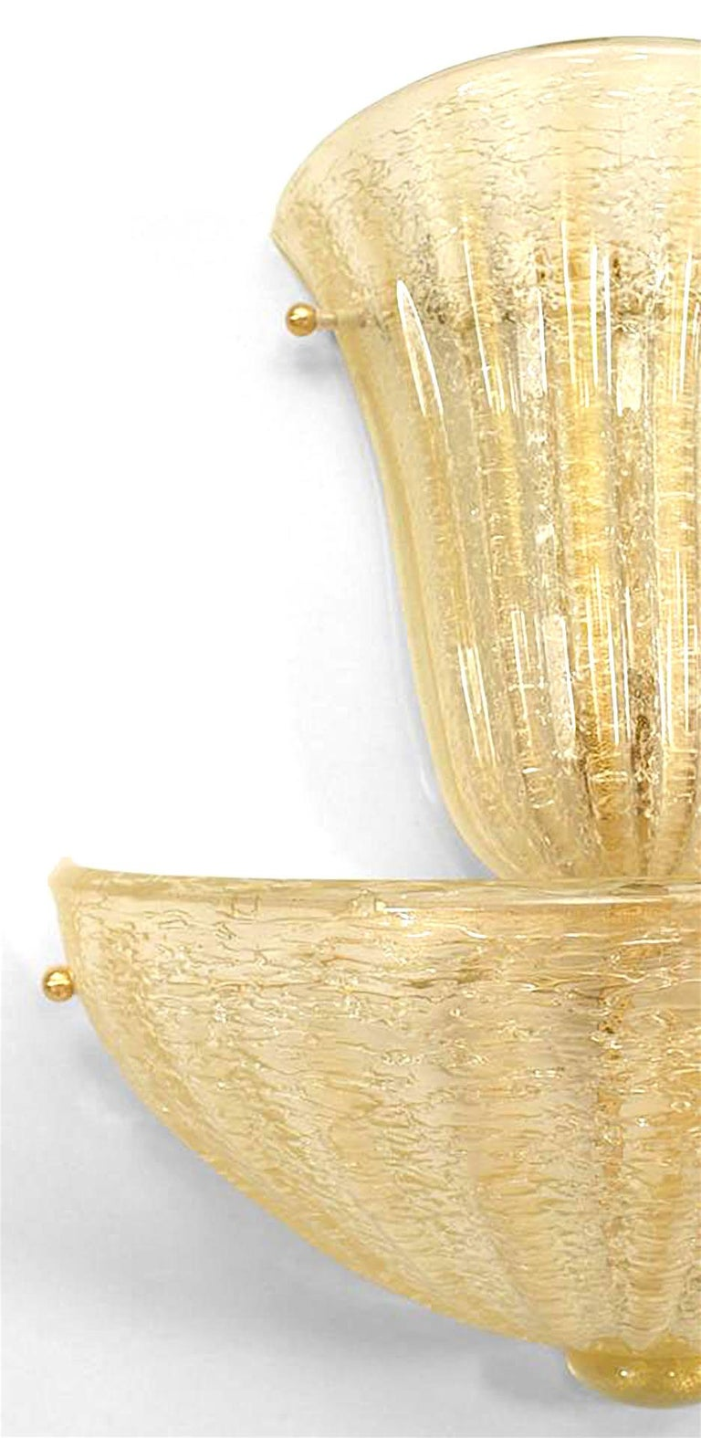 Pair of Italian Gold-Flecked Murano Glass Sconces In Good Condition For Sale In New York, NY
