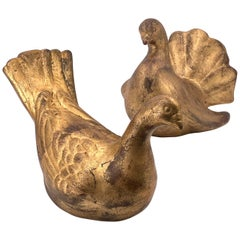 Pair of Italian Gold Guild Doves Ceramic Sculptures / Figurines