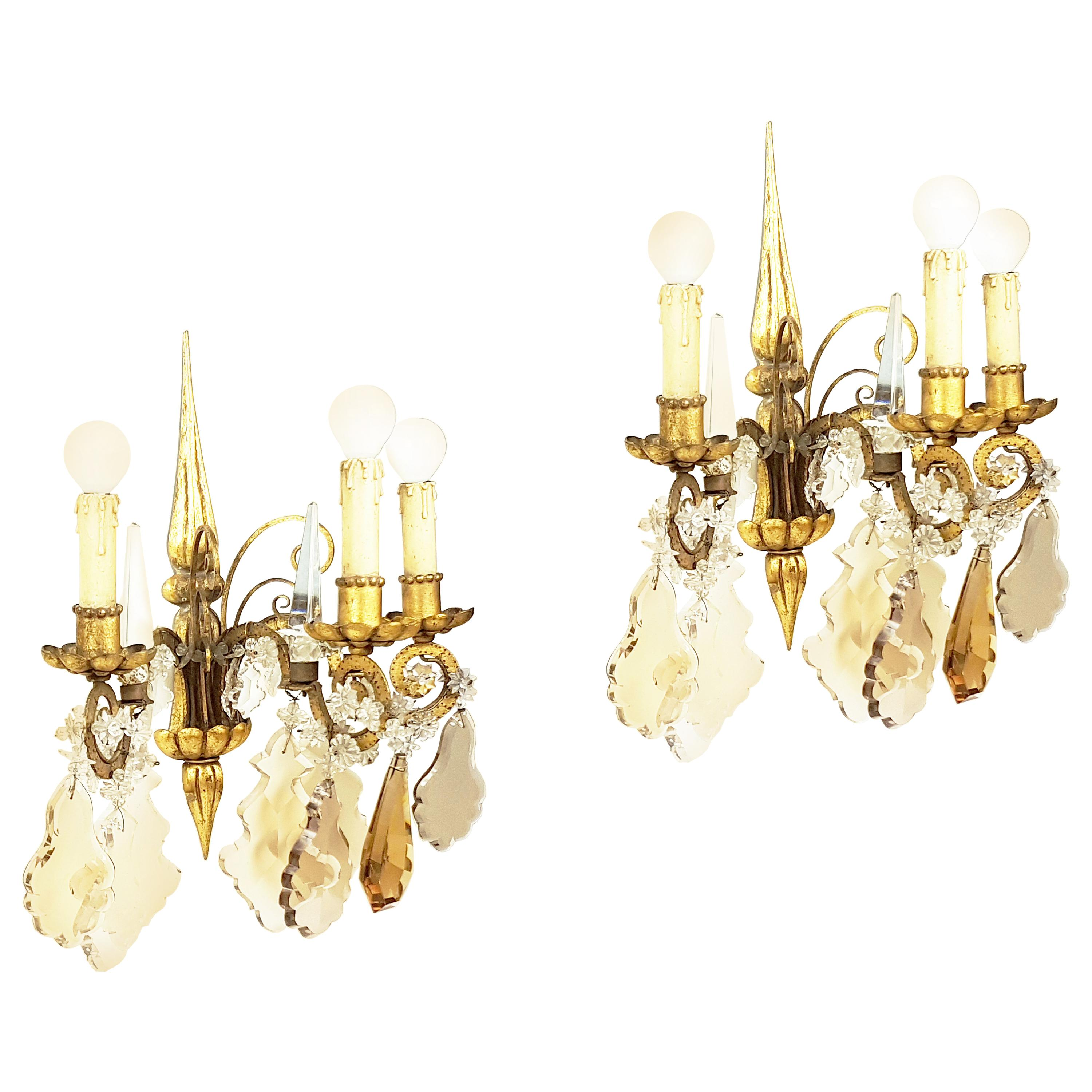 Pair of Italian Gold Leaf Metal and Faceted Crystal Deco Sconces