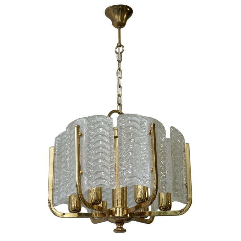 Pair of Italian Golden Brass and Murano Glass Pendant Lights For Sale