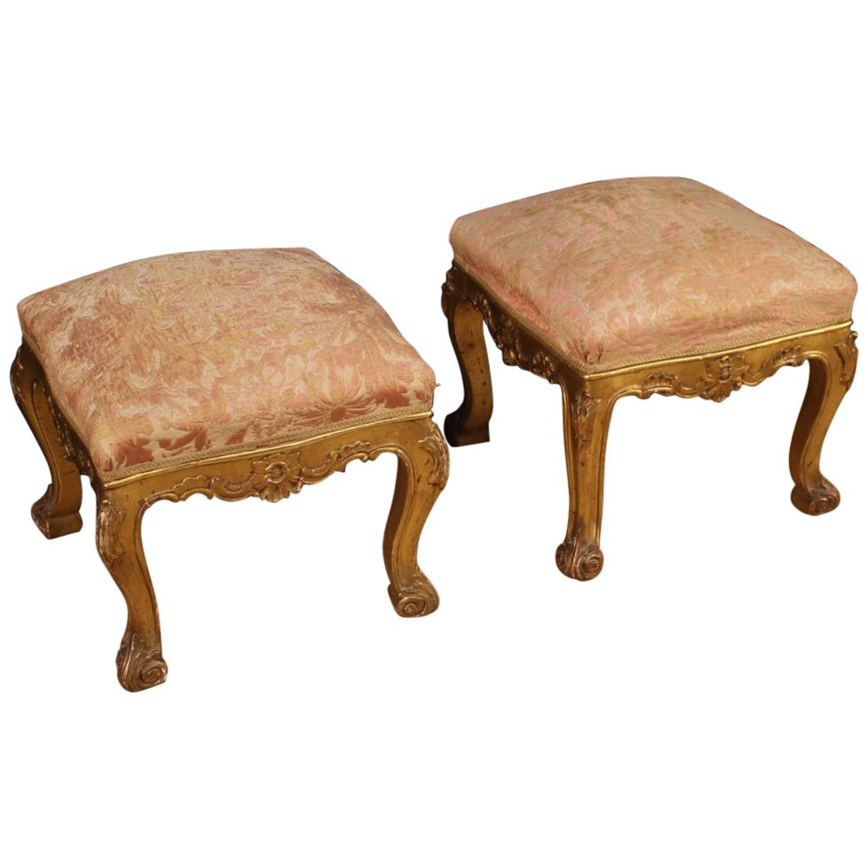 Pair of Italian Golden Footstools, 20th Century