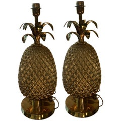 Pair of Italian Golden Glass and Brass Pineapple Table Lamps