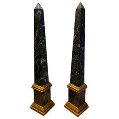 Pair of Italian Grand Tour Antico Verde Obelisks
