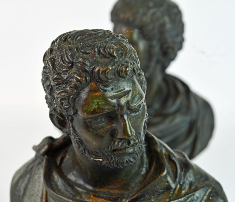 Pair of Italian Grand Tour Bronze Busts of the Roman Emperors Caligula and Nero For Sale 4