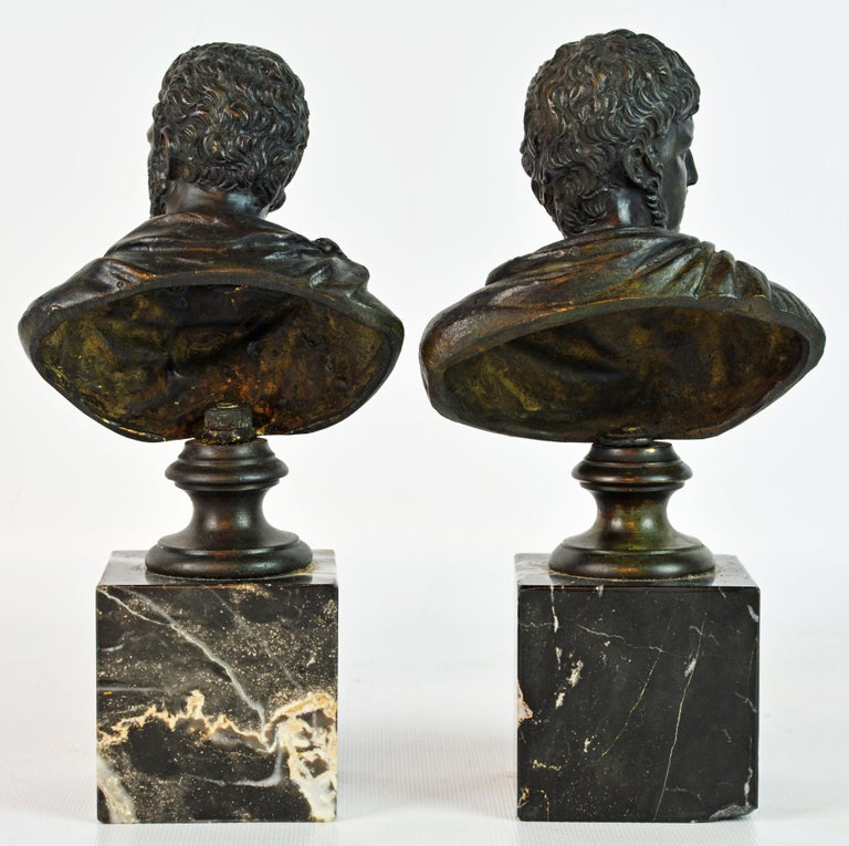 Classical Roman Pair of Italian Grand Tour Bronze Busts of the Roman Emperors Caligula and Nero For Sale
