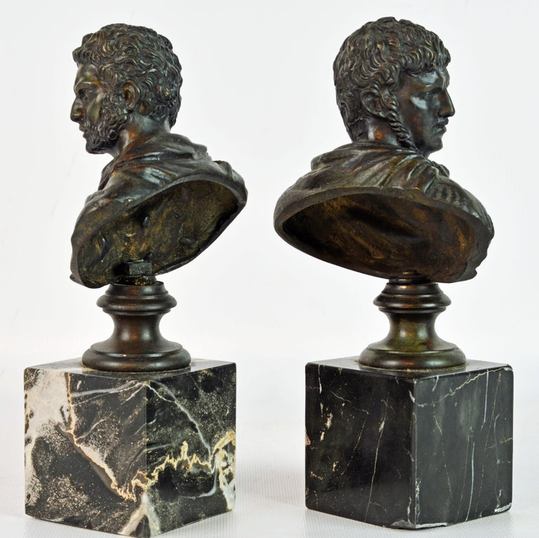 Patinated Pair of Italian Grand Tour Bronze Busts of the Roman Emperors Caligula and Nero For Sale