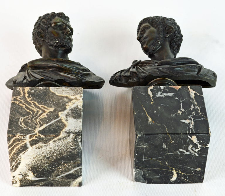 Pair of Italian Grand Tour Bronze Busts of the Roman Emperors Caligula and Nero In Good Condition For Sale In Ft. Lauderdale, FL
