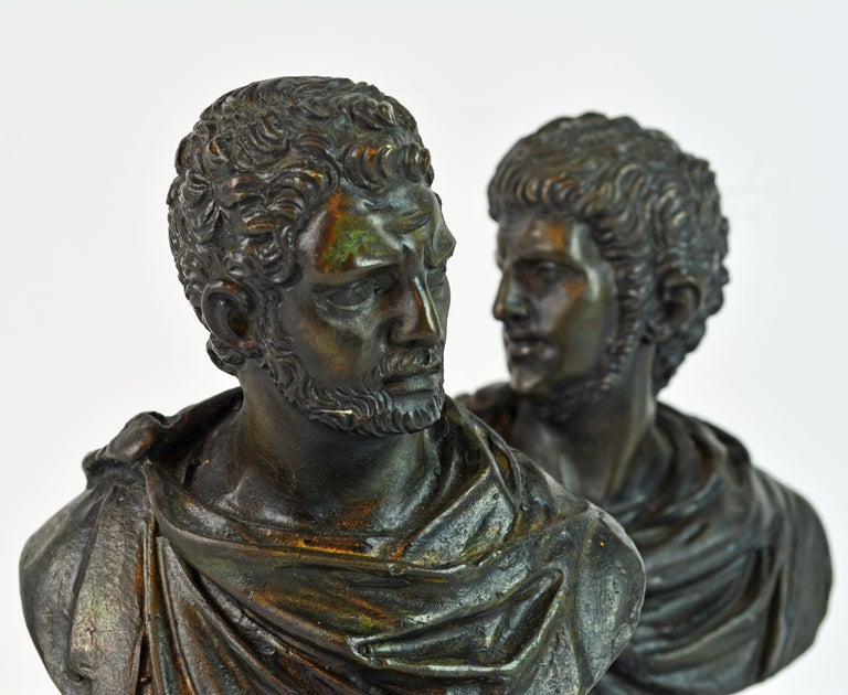 20th Century Pair of Italian Grand Tour Bronze Busts of the Roman Emperors Caligula and Nero For Sale