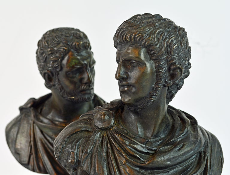 Pair of Italian Grand Tour Bronze Busts of the Roman Emperors Caligula and Nero For Sale 1