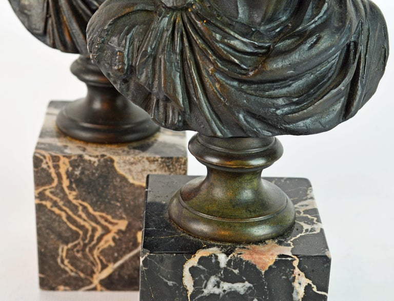 Pair of Italian Grand Tour Bronze Busts of the Roman Emperors Caligula and Nero For Sale 2