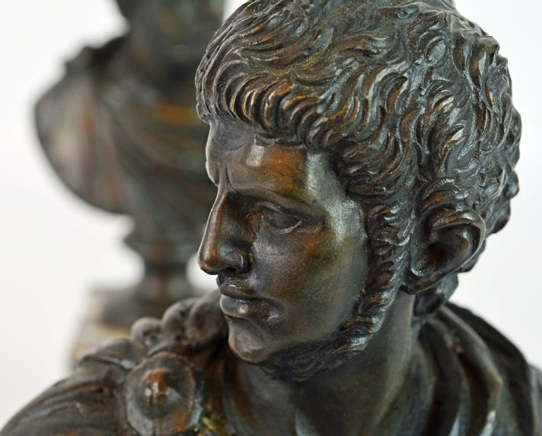 Pair of Italian Grand Tour Bronze Busts of the Roman Emperors Caligula and Nero For Sale 3