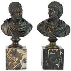 Pair of Italian Grand Tour Bronze Busts of the Roman Emperors Caligula and Nero