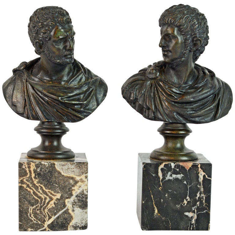 Pair of Italian Grand Tour Bronze Busts of the Roman Emperors Caligula and Nero For Sale