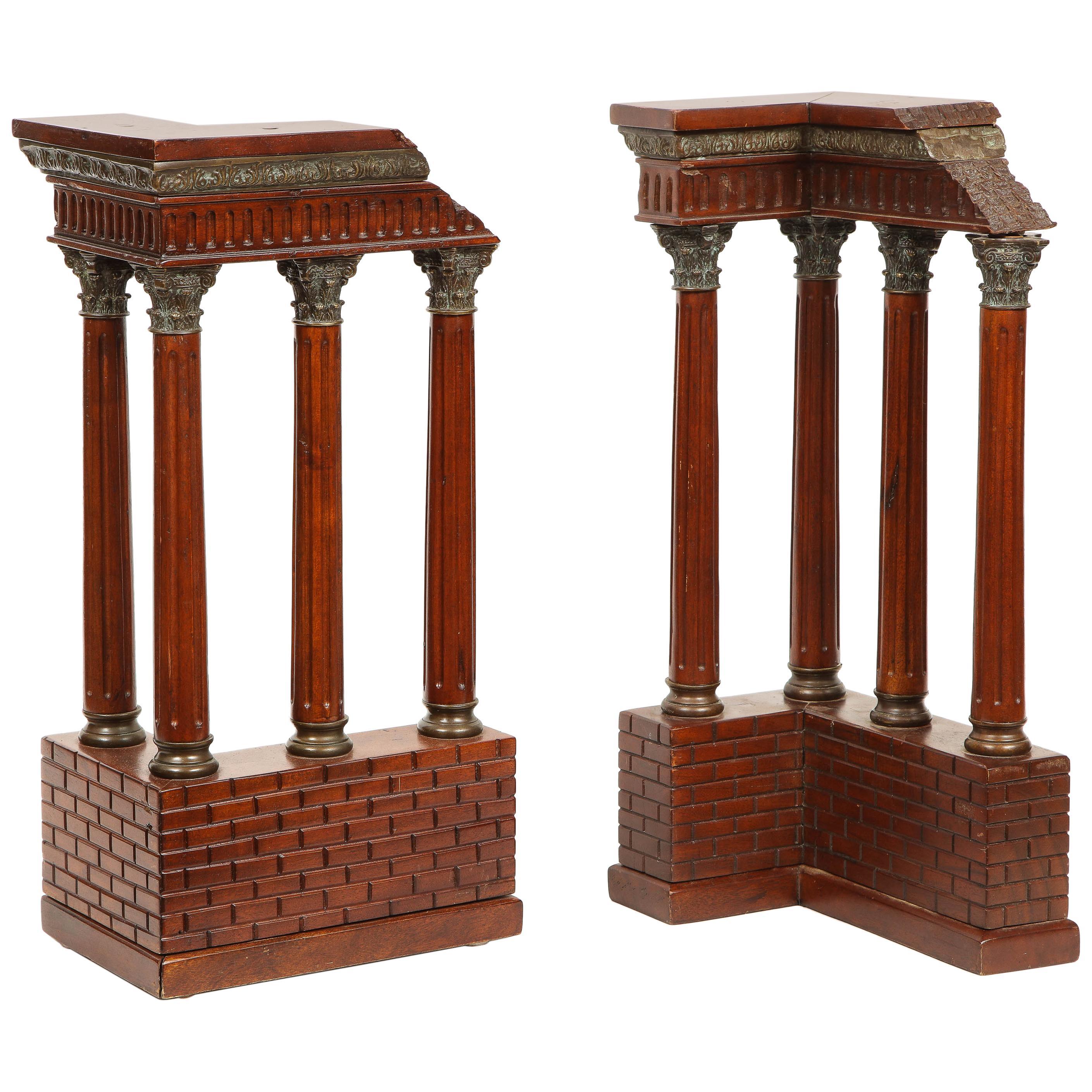 Pair of Italian Grand Tour Mahogany Wood & Bronze Roman Ruins Neoclassical Model