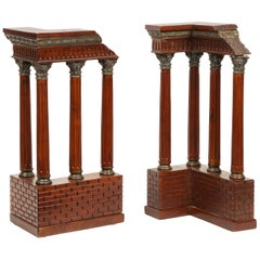 Pair of Italian Grand Tour Mahogany Wood & Bronze Roman Ruins Neoclassical Model