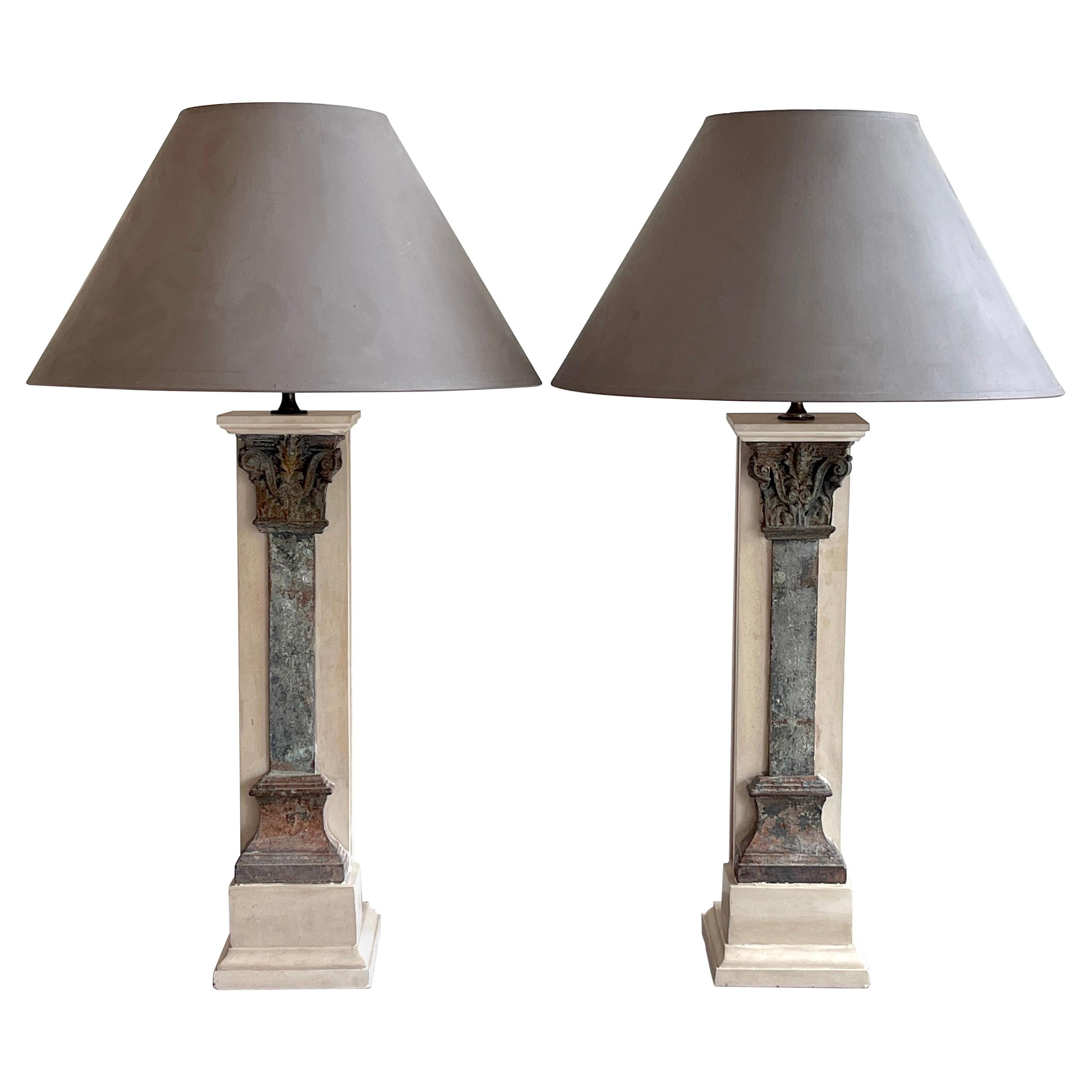 Pair of Italian Grand Tour Style Marble & Column Lamps