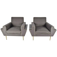 Pair of Italian Gray Lounge Chairs, 1950s