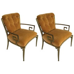 Pair of Italian Greek Key Mastercraft Armchairs 2