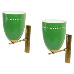 Pair of Italian Green Aluminum and Brass Adjustable 1950s Sconces