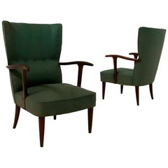 Pair of Italian Green Armchair by Paolo Buffa in Cherrywood and Original Fabric