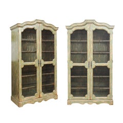Pair of Italian Green Painted Rococo Style Bookcases