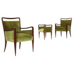 Pair of Italian Green Velvet Armchairs with Pouf, 1940s